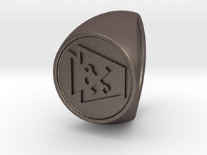 Custom Signet Ring 78 in Polished Bronzed Silver Steel