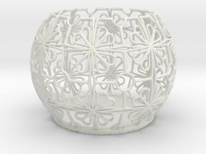 Tealight Holder Tiled Orb Indigo in White Natural Versatile Plastic