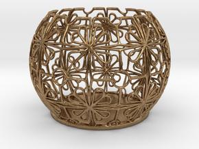 Tealight Holder Tiled Orb Indigo in Natural Brass