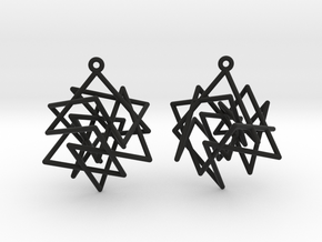 Knight's Tour Cube Earrings in Black Strong & Flexible