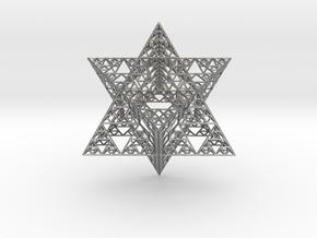 Sierpinski Merkaba III, Hollow (downloadable) in Natural Silver