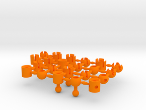 Round Ball Sockets Sprue Small Scale in Orange Processed Versatile Plastic
