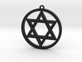 Hexagram Star Pendant in Black Natural Versatile Plastic: Small