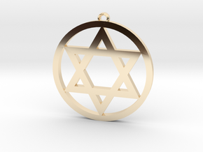 Hexagram Star Pendant in 14k Gold Plated Brass: Medium