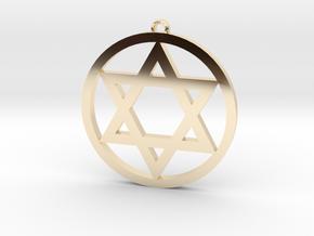 Hexagram Star Pendant in 14k Gold Plated Brass: Medium