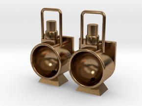 Stoomloc Frontseinlamp set van 2 Spoor 0 in Natural Brass