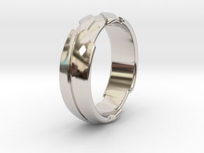 GD Ring - Edge in Rhodium Plated Brass: 1.5 / 40.5