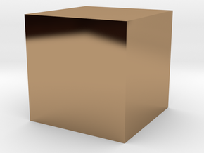a cube of one cubic centimeter in Polished Brass