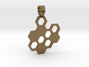 Hexa board  [pendant] in Polished Bronze