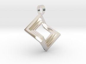 Pseudo cube [pendant] in Rhodium Plated Brass