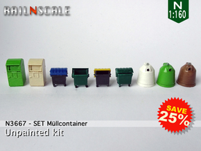 SET Müllcontainer (N 1:160) in Smooth Fine Detail Plastic