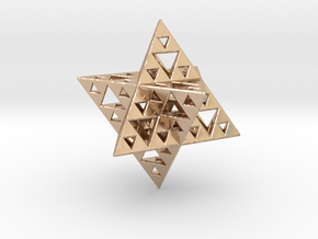 Sierpinski Merkaba IV level 3 1.5 cm in 14k Rose Gold Plated Brass