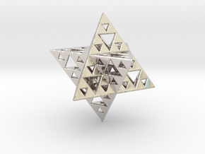 Sierpinski Merkaba IV level 3 1.5 cm (downloadable in Rhodium Plated Brass