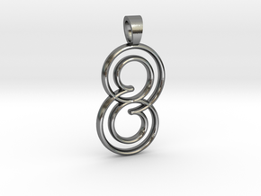 Double spiral [pendant] in Polished Silver