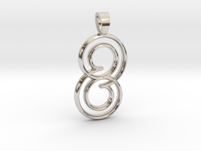 Double spiral [pendant] in Rhodium Plated Brass