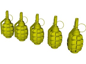 1/10 scale F-1 Soviet hand grenades x 5 in Smooth Fine Detail Plastic