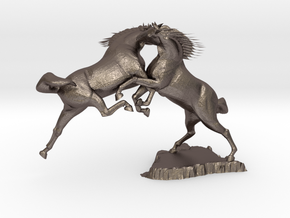 The Fight in Polished Bronzed Silver Steel