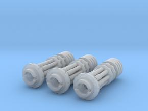 Tsunami Gatling Weapons - Set of 3 (Short Barrel) in Smooth Fine Detail Plastic