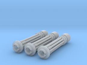 Tsunami Gatling Weapons - Set of 3 (Long Barrel) in Frosted Ultra Detail