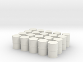 HO Scale Oil Drums in White Natural Versatile Plastic: 1:87 - HO