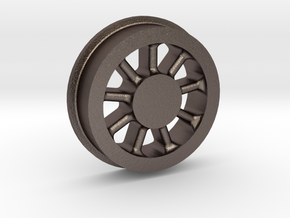 Climax Locomotive Spoked Wheel, 1:20.3 Scale in Polished Bronzed Silver Steel