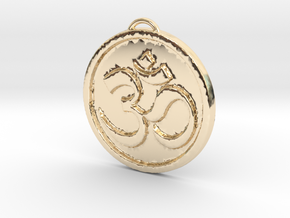 Om Pendant in 14k Gold Plated Brass: Medium