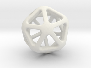 Twenty Sided Wireframe Die in White Natural Versatile Plastic