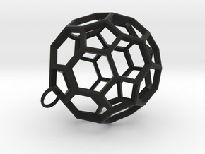 Buckyball Pendant in Black Natural Versatile Plastic