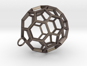 Buckyball Pendant in Polished Bronzed Silver Steel