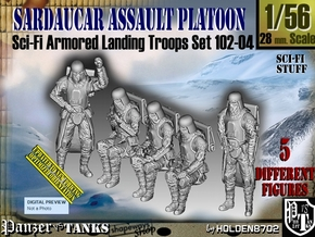 1/56 Sci-Fi Sardaucar Platoon Set 102-04 in Smooth Fine Detail Plastic