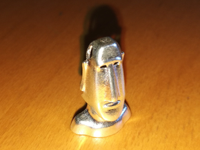 Moai : Head Statue of the island of Easter in Natural Silver