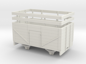 1:32/1:35 7 plank open wagon with rails  in White Natural Versatile Plastic