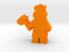 Game Piece, Cavegirl with Axe in Orange Processed Versatile Plastic