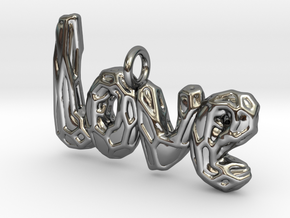 Love pendant with Voronoi Vine in Fine Detail Polished Silver