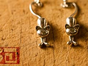 Kittens - earrings in Polished Silver
