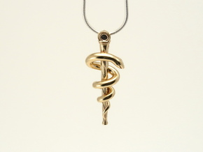 Rod of Asclepius pendant in Natural Brass