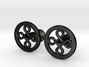 Custom Logo Cufflinks in Matte Black Steel
