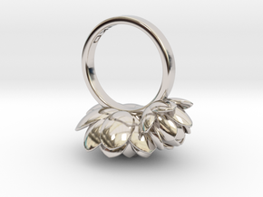 Lotus Ring  in Rhodium Plated Brass: Medium