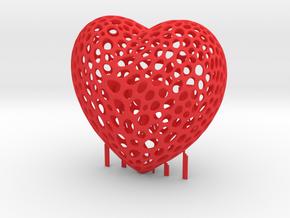 Voronoi Heart L❤️V in Red Processed Versatile Plastic: Medium