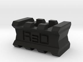 Back-to-Back 3-Slots Picatinny Rails Adapter in Black Premium Versatile Plastic