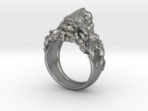 Roaring Lion King of Jungle Ring  in Natural Silver: 6 / 51.5