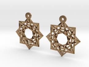 8:8 Stargate Earrings in Natural Brass