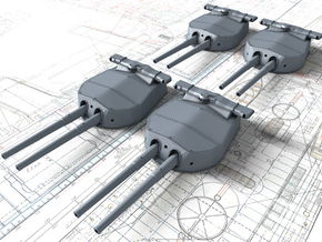 "1/720 HMS Hood 15"" (38.1 cm) Mark II Turrets 1920 in Smoothest Fine Detail Plastic"