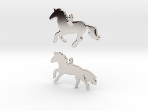 Horses earrings in Rhodium Plated Brass: 28mm