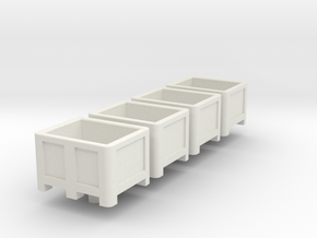 HO Scale Palletbox 4pc in White Natural Versatile Plastic