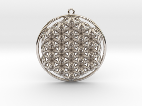 """Super Flower of Life (One Sided) 1.5"""" Pendant in Platinum"""