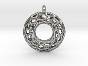 Circle Mesh Pendant 1 in Natural Silver