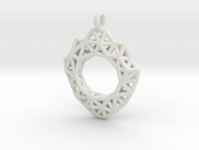 Circle Mesh Pendant 3 in White Natural Versatile Plastic