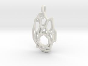 Pendant Hexa Mesh 1 in White Natural Versatile Plastic