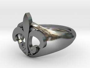 Fleur de lis Hoop in Polished Silver: 10 / 61.5